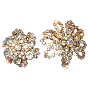 Set of Two Aurora Borealis Snowflake Brooch's