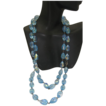Flapper Style Faceted Blue Aurora Borealis Crystal Necklace