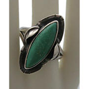 C1960 Native American Turquoise Sterling Silver Ladies Ring 8 1/2