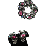 Juliana Watermelon Tourmaline Brooch Earrings Set