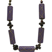 Private Collection Purple OP  Art Necklace c1970