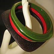 Gatsby Style Bangle Bracelet Set Art Deco Celluloid