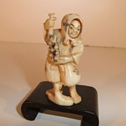 Carved Ivory Netsuke with Movable Face
