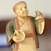Handsome Ivory Netsuke in Hand Tinted Polychrome