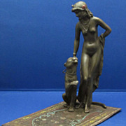 c1900 BERGMAN Cold Painted Vienna Bronze: Princess and Cheetah