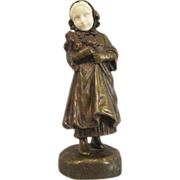 c1910 TERESZCZUK Vienna Bronze Figure of a Girl w/ Flowers