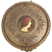 Bronze & Enamel Portrait Miniature Box, Ormolu. French c1890