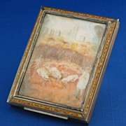 Antique Enamel Sterling Silver Box, Card Case w/ Painted Ivory Portrait Miniatures, Austrian .