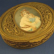 SOLD LARGE Dore Bronze Box w/ SIGNED Portrait Miniature on Ivory & Ormolu Mounts