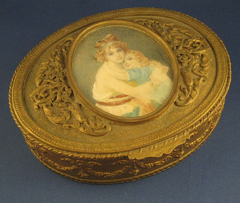 LARGE Dore Bronze Box w/ SIGNED Portrait Miniature on Ivory & Ormolu Mounts