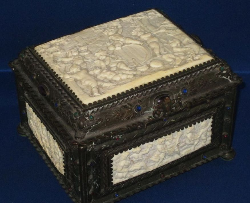 LARGE Antique Continental Carved Ivory & Bronze Table Box w/ 5 Plaques, Cameos!