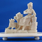SOLD c1840 DIEPPE Ivory Carving of Woman with Fox - FINE DETAIL
