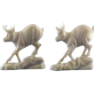 Pair of Continental European Ivory Carvings of Mountain Goats, ca 1890