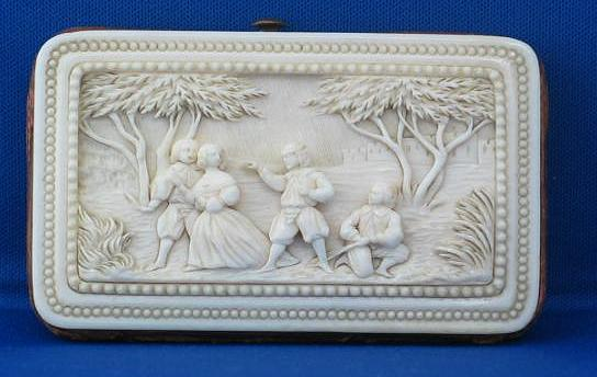 Antique Carved Ivory Coin Purse in Cameo Relief - Dieppe, French ca. 1870