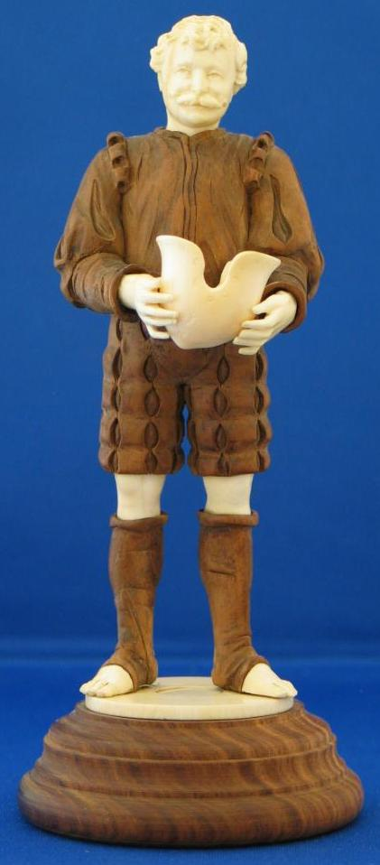 Black Forest Carved Wood and Ivory Figure of a Soldier