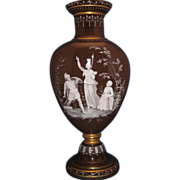 c1850 Enamel on Glass French Vase, Hand Blown & Painted