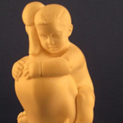 HEAVY DIEPPE Carved Ivory Figure of Child Riding a Duck, French