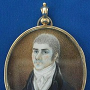 SALE PENDING 18c American Portrait Miniature on Ivory w/ Swivel Back Frame/Locket