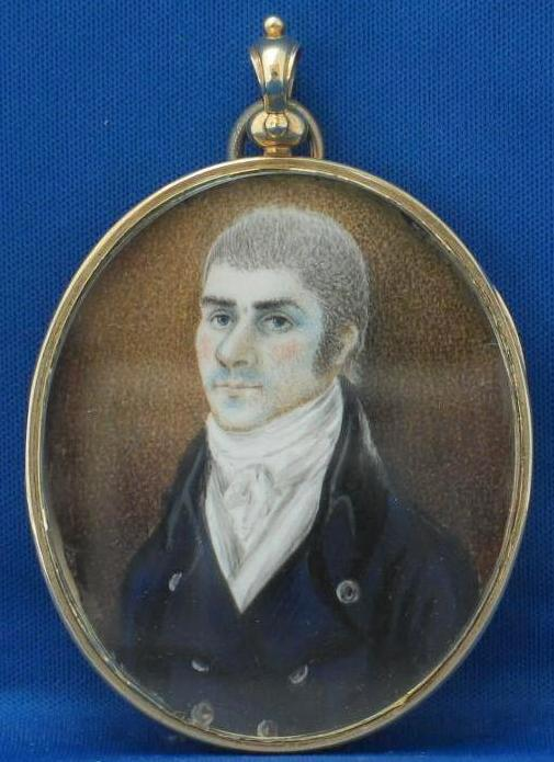 18c American Portrait Miniature on Ivory w/ Swivel Back Frame/Locket