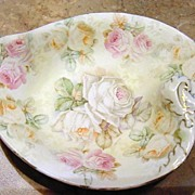 SALE Antique, Royal Bayreuth, Rose Tapestry, Leaf Dish (Three-Color Roses)