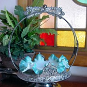 SALE 1880s Fancy DERBY Silverplate Frame with original Teal Cased BRIDES BASKET and extra Bowl