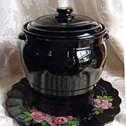 SALE Beautiful Old Black Amethyst Cookie Jar, with Hand Painted & Signed Plate