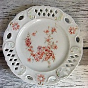 REDUCED Hand Painted Peach Blossoms on Vintage Lattice Open Work Plate