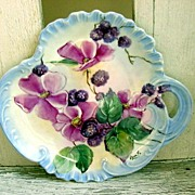 REDUCED Berry and Wild Rose Hand Painted Porcelain Tray