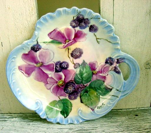 Berry and Wild Rose Hand Painted Porcelain Tray