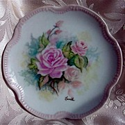 REDUCED Hand Painted Rose Porcelain Plate