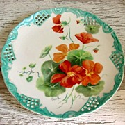REDUCED Hand Painted Porcelain Nasturtium, Open Work Plate, with Luster Trim