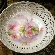 Wild Rose Hand Painted Open Lattice Work Bowl, signed by Artist