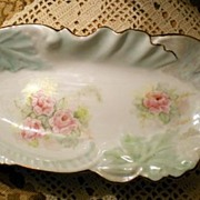 SALE Pale Sea Foam Leaf Tray, with Hand Painted Roses, signed by Artist