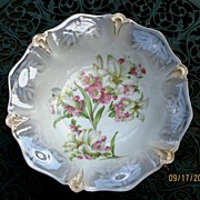 SALE 1898 Floral Luster Ware German Bowl