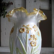 REDUCED Fenton Empress Crested Iridized MG Vase w/ DAFFODIL PATTERN ~Signed