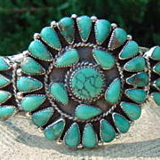 REDUCED Petit Point Turquoise Inset Sterling Silver Cuff Bracelet.