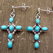 SALE Cross Earrings Sterling Silver & Turquoise Cabochon