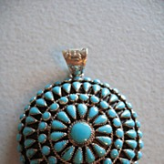 SALE Sterling Pendant Domed with Turquoise Pettipoint -Unique 3D!