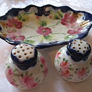 Nippon Hand Painted Antique China Tray and Salt Pepper Shaker Set