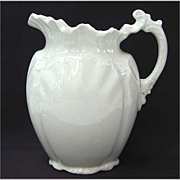 Antique White Ironstone Pitcher Wedgwood & Co Ornate Victorian Design