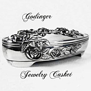 Godinger Jewelry Casket Silver Plate High Relief Romantic Roses