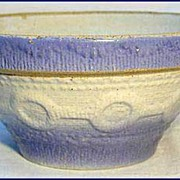 Vintage Blue & White Stoneware Wedding Ring Bowl 1900s