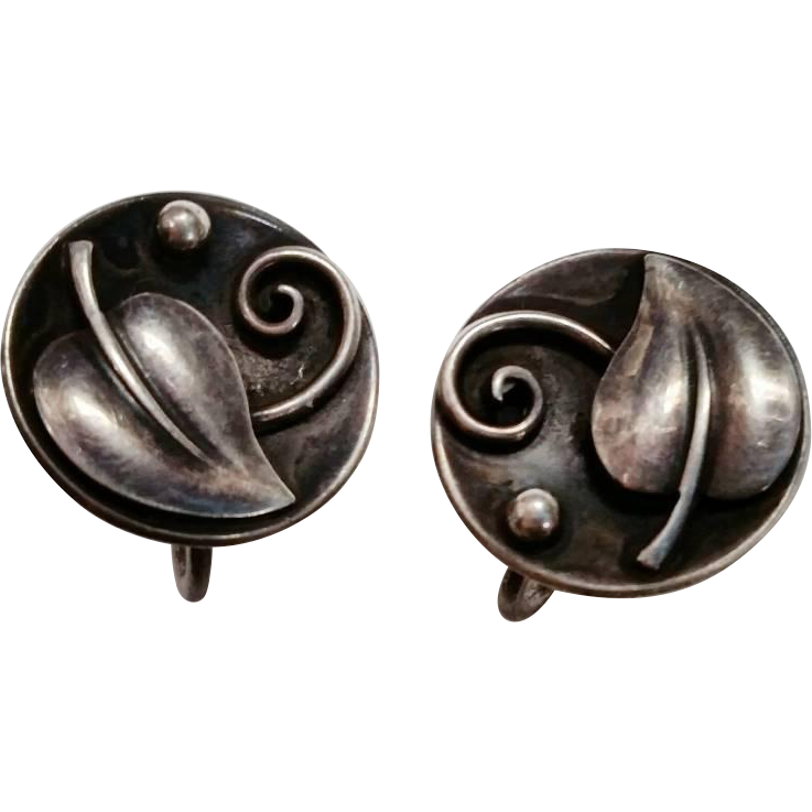 Laurence Foss Sterling Earrings Arts & Crafts 1940s