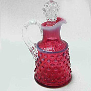 Fenton Art Glass Cranberry Opalescent Hobnail Oil Bottle Cruet