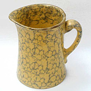 Antique Spongeware Pitcher Yellow Ware Green Sponge Decorated With Gilt Trim