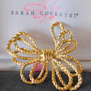 Vintage Huge Bow Brooch Pin Sarah Coventry in Original Box