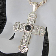 Vintage Silver and Onyx Cross Necklace and Chain Christian Jewelry