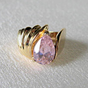 Silver and Gold Plated Ring with Pear Shaped Pink CZ