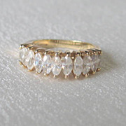SALE Vintage Sterling Vermeil  CZ Ring Marquis Cut Band