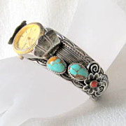 SALE Native American Sterling Watch Cuff Turquoise and Coral Unusual